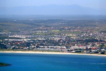 Langebaan viewed from Postberg, West Coast National Park, with Engelsman se Baken mountains, Cape West Coast